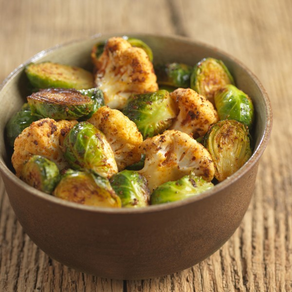 Oven Roasted Brussels Sprouts with Cauliflower