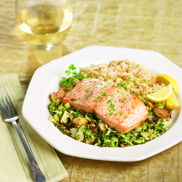 Roasted Brussels Sprouts with Salmon