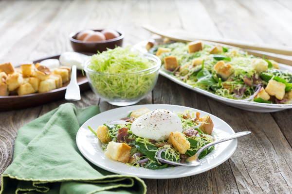Lyonnaise Salad with Brussels Sprouts and Spinach