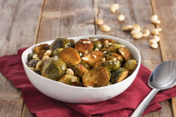 Honey Sriracha Roast Brussels Sprouts with Cashews