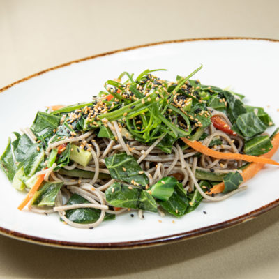 Chopped Collard Greens with Soba Noodles and Thai Peanut Dressing