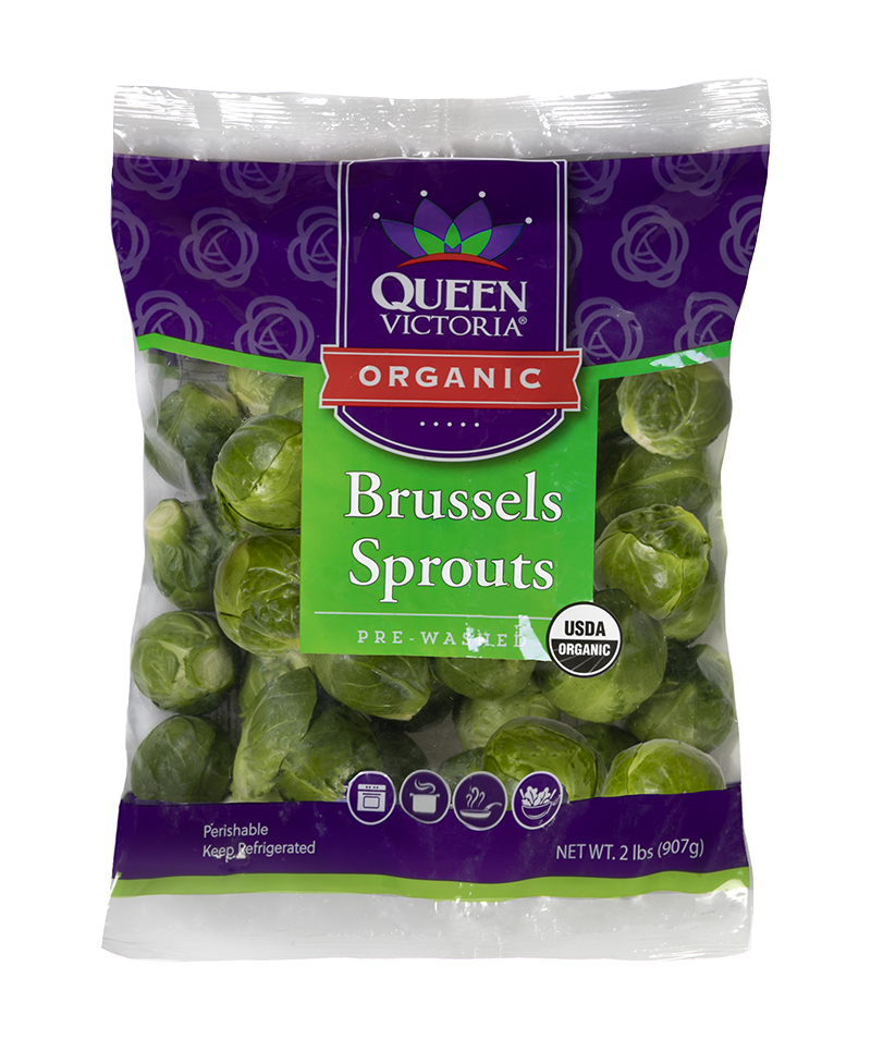 QV Organic Brussels sprouts 2lb bag front