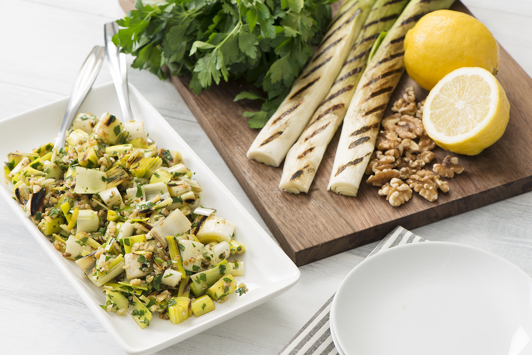 Grilled Leeks with Walnuts and Herbs