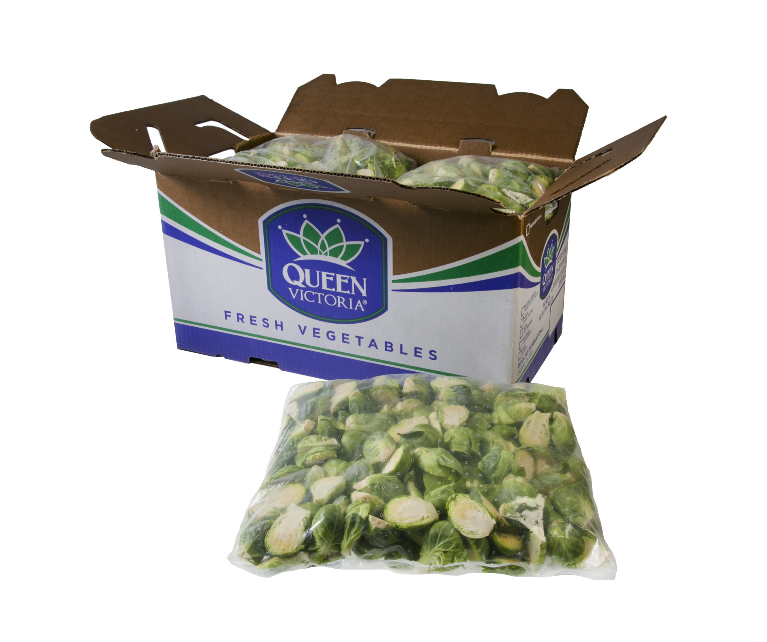 Foodservice Brussels Sprouts Halves bag and carton