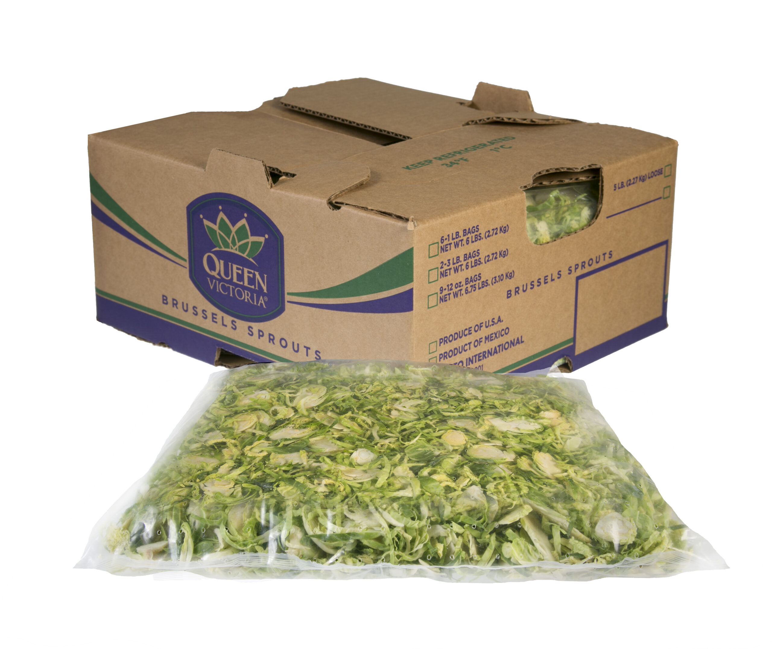 Foodservice Brussels Sprouts Shreds Bag and carton
