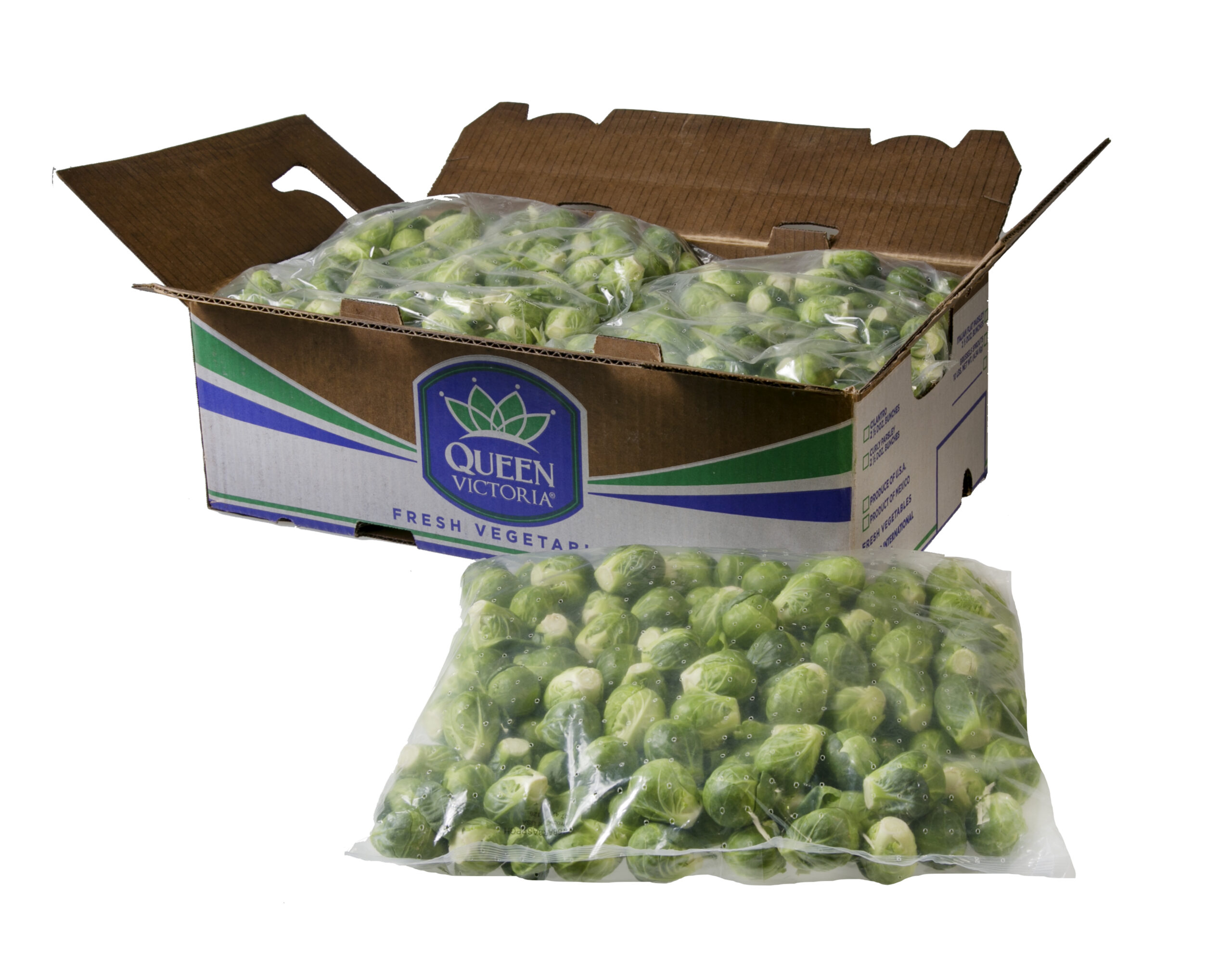 Foodservice Brussels Sprouts whole bag and carton